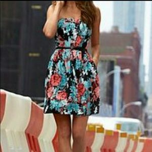 New York & company strapless scuba skater dress xl